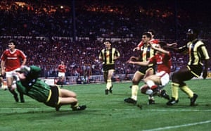 Lee Martin scores the winner in the 1990 FA Cup final replay with Crystal Palace
