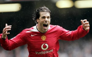 Ruud van Nistelrooy scores in the FA Cup semi-final against Newcastle