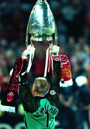 Peter Schmeichel lifts the European Cup in Barcelona