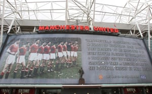The Busby Babes memorial poster at Old Trafford