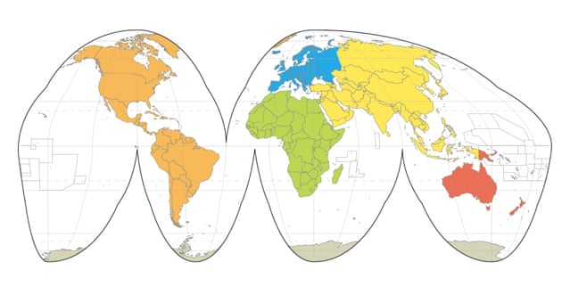 World maps: Mercator, Goode, Robinson, Peters and Hammer