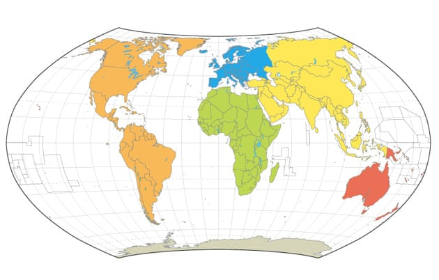 World maps: Mercator, Goode, Robinson, Peters and Hammer ...