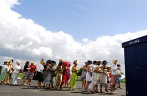Ladies queue for entrance to the Silver Ring