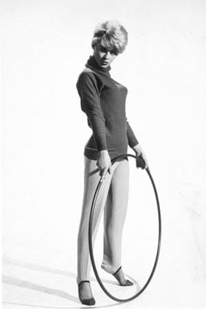 Julie Christie poses with a hula hoop