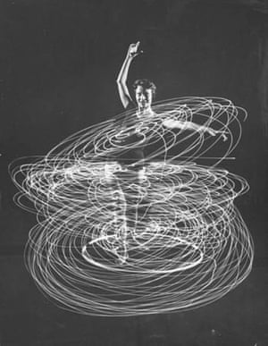 A multiple exposure of a woman playing with a hula hoop
