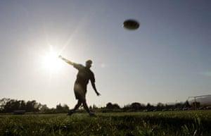 Members of the Ultimate Frisbee team practice at the University of California, Santa Barbara