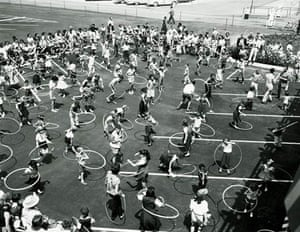 At the height of the hula hoop craze, various techniques are demonstrated in Los Angeles