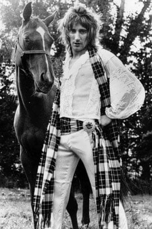 Rod Stewart wearing tartan