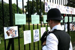 Policeman reading cards