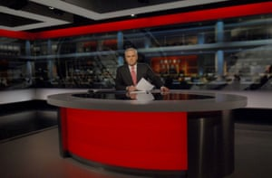Huw Edwards in the 2008 studio
