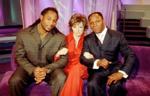 Carol Vorderman with Lenox Lewis  and Chris Eubank in 'Star Lives' 2001