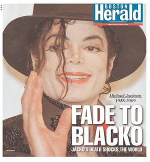 Michael Jackson's death on the cover of the Boston Herald