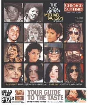 Michael Jackson montage on the Chicago Sun Times cover