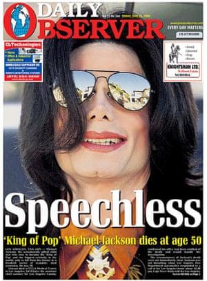 Michael Jackson death: Daily Observer, Jamaica