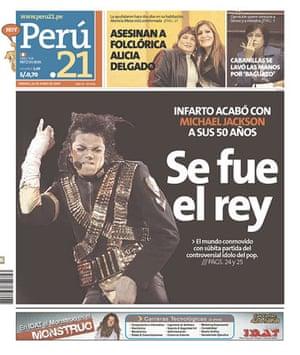 Michael Jackson death: Peru 21, Peru