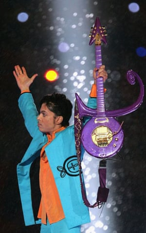 Prince and famous guitar at Super Bowl in Miami Gardens