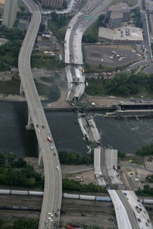A collapsed portion of the bridge