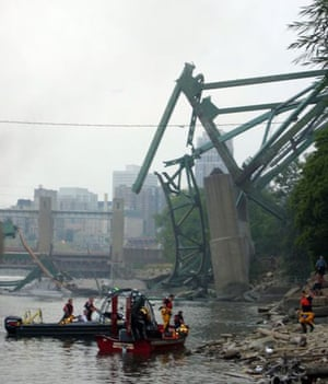 Emergency services at the scene of the collapse