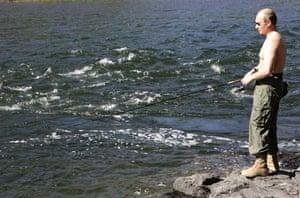 Putin fishing in the Yenisei river