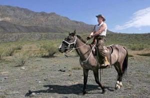 Putin rides a horse