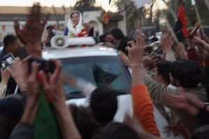 Bhutto leaving the rally