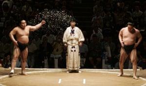 Grand champions, or yokozuna, Hakuho and Asashoryu