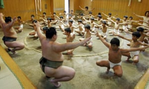Children learn the art of sumo