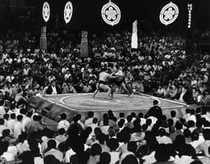 A sumo wrestiling scene from the James Bond film 'You Only Live Twice'