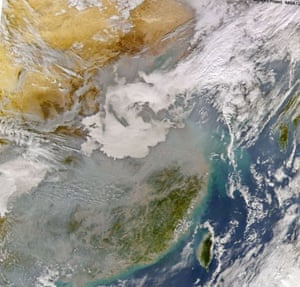 A haze of pollution seen by a satellite over part of China