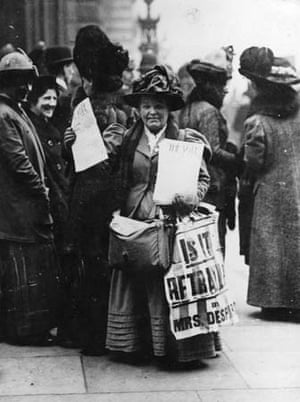 A suffragette selling a newsheet
