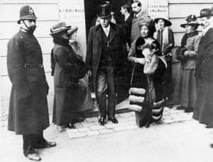 Emmeline Pankhurst, leaves the court at Epsom