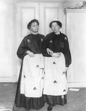 Emmeline and Chritabel Pankhurst in prison uniform