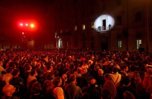 Vanessa Da Mata performs during a party in the Piazza Navona as part of the Rome Film Festival
