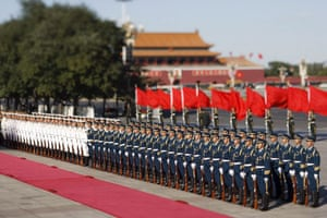 A guard of honour from the People's Liberation Army prepare to hold a welcoming ceremony at the Great Hall of the People