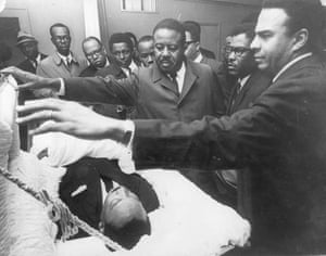 Dr Martin Luther King Jr dead in coffin