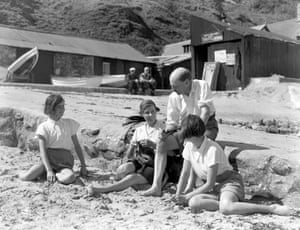 1938, Nevin, UK: Labour Party leader Clement Attlee on holiday with his wife Violet and their daughters, Janet and Felicity