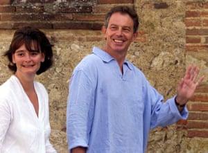 2001, Saint-Martin d'Oydes, France: Tony Blair enjoys a walk with Cherie