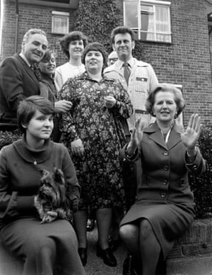 Margaret Thatcher and a family who have bought their council house
