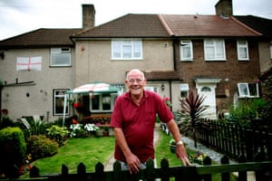 Ron Goodchild outside his former council house in Dagenham