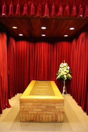 Coffin altar at crematorium