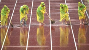 sweeping the wet track