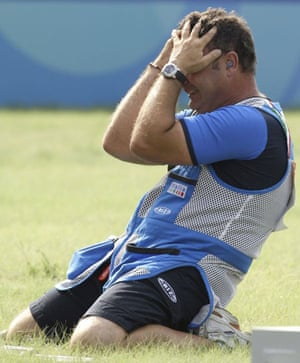 Francesco Daniello of Italy reacts after winning the silver medal