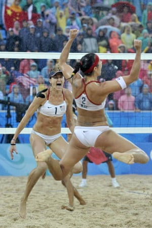 Misty May-Treanor (front) and Kerri Walsh of the USA celebrate after winning the gold medal match