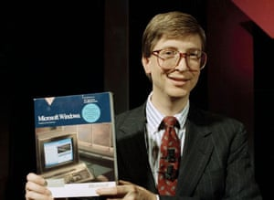 Bill Gates introduces the company's Windows software in New York