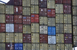 Stacked cargo containers at Felixstowe Container Port, Suffolk