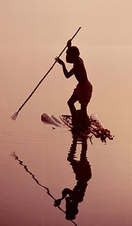 A spear fisherman in the Ganges