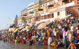 Bathers at the city of Varanisi, on the banks of the Ganges. Hindus believe that bathing in the river will absolve sins