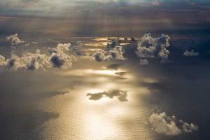 Plane window view, Zanzibar