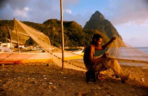 Fisherman on the beach in St Lucia