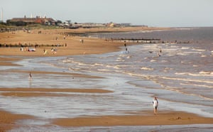 Blue Flag beaches: Holidaymakers on the beach , Skegness, Lincolnshire